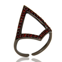 Garnet and Oxidized Sterling Silver Tringle Shape Midi Ring