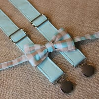 Blue Tan Check Plaid Bow Tie and Light Aqua Blue Suspenders set Wedding ( Men, boys, baby, toddler, infant Suspender and Bowtie )