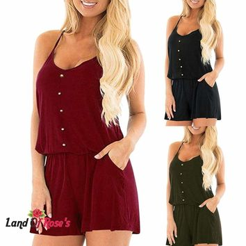 Sleeveless Loose Solid V Neck Short Jumpsuit Rompers