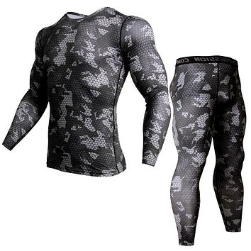 New Camo Sportswear Men's Training Set Sports Compression Underwear  Running Clothes Gym Training Shirt Tights + Leggings Men's