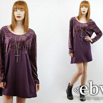 Vintage 90s Eggplant Crushed Velvet Mini Dress L XL 90s Grunge Dress Eggplant Dress Goth Dress 90s Mini Dress Babydoll Dress Velvet Dress