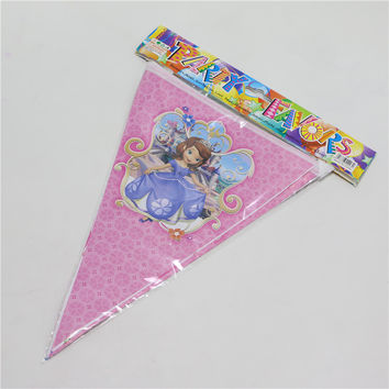 1set\pack Sophia Theme Paper flags bunners Kids happy Birthday Decoration Bunting Event wedding Party Supplies pennants 2.5m