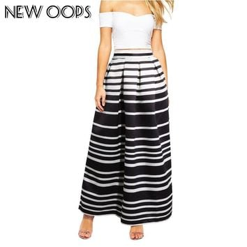 NEW OOPS Vintage Maxi Long Skirt 2016 Fall Winter Casual Pleated Floral Printed Ball Gown Maxi Women Saias Femininas A14901