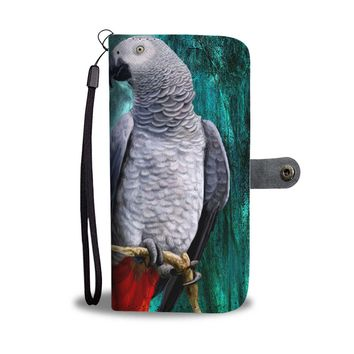 Amazing African Grey Parrot (Congo Grey Parrot) Print Wallet Case-Free Shipping