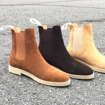Common P Style Chelsea Boots Kanye West Boots Genuine Suede Leather  Fishion Style Euro And America  Mid Heel GD