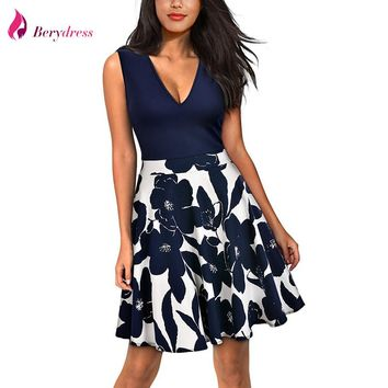 Berydress Women Party Swing Dress Mini A-Line V-neck Sexy Low Back Sleeveless Patchwork Floral Print Casual Skater Dress Short