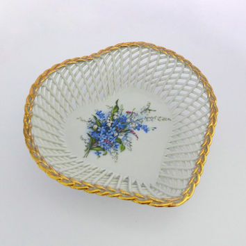 Lattice Heart Bowl, Romanian Heart Dish, White Gold Heart, Blue Floral Tray, Heart Shaped Dish, Porfin Porcelain, Heart Trinket Dish