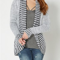 Black Two-Toned Chunky Knit Cardigan