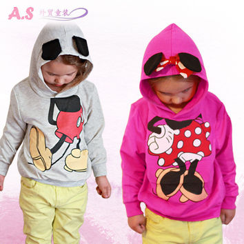 Retail 2015 baby clothing children Boy Girls sweater Hoodies Mickey Minnie Sweatshirts Mouse Cartoon Top Kids coat