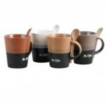 Mr Coffe Caf?? Greco 8 Piece 14 oz. Mugs with Matching Spoons Set