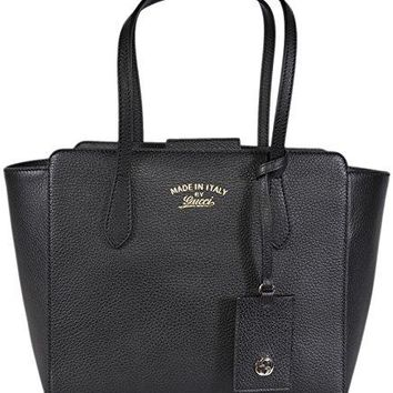 Gucci Women's 354408 Small Leather Trademark Logo Swing Tote Purse (Black)