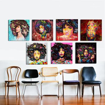 ZZ2186 HD PRINT Poster Wall Art Abstract Modern African Women Portrait Canvas Oil Painting Graffiti Street art For Living room