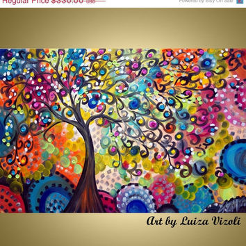 SALE Original Modern Boho Colorful Whimsical Abstract Oil Painting TREE OF Life by Luiza Vizoli