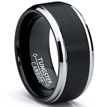 9MM Black Two Tone Tungsten Carbide Men's Brushed Wedding Band Ring, Comfort Fit Size 8