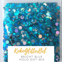 Holographic Glitter Hex- Bright Blue with Holo Dots