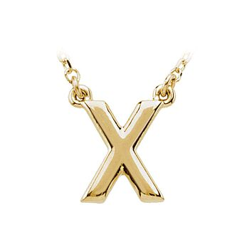 Block initial Necklace in 14k Yellow Gold, Letter X