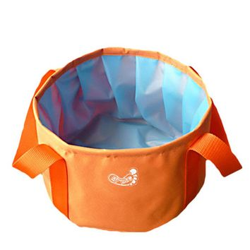 Orange All Purpose Utility Bucket Camp Pail Collapsible Sink Foldable Can, 10L
