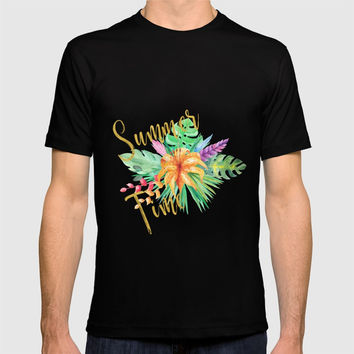 Tropical leaves and flowers summer time gold brush script T-shirt by ankka
