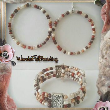 Earth Tone Beaded Memory Wire Bracelet & Earring Set - $16.00 - Handmade Jewelry, Crafts and Unique Gifts by WandaFulBeading