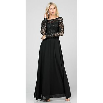 Long Sleeved Lace Bodice A-Line Long Formal Dress Black