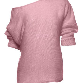 Pink Off Shoulder Open Knit Sweater