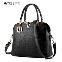 ACELURE Women Famous brand designer Luxury leather handbags women messenger bag Ladies crocodile pattern Shoulder bag Crossbody