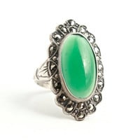 Vintage Art Deco Green Glass Sterling Silver Ring - Size 5 1/4 1930s Uncas Statement Costume Jewelry Cocktail Ring / Green Chrysoprase Stone