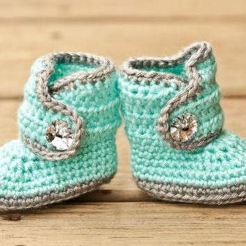 DCCK8X2 Crochet Baby Booties - Baby Boots - Mint Teal and Grey Baby Shoes Bling - Bling Baby B