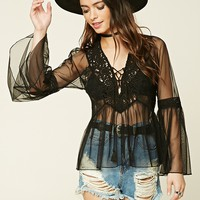 Lace-Up Mesh Top