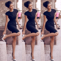 Scoop Solid High-waist Bodycon Mid-Calf Black Dress