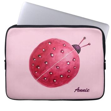 Custom Name Pretty Pink Watercolor Ladybug Kids Laptop Sleeve