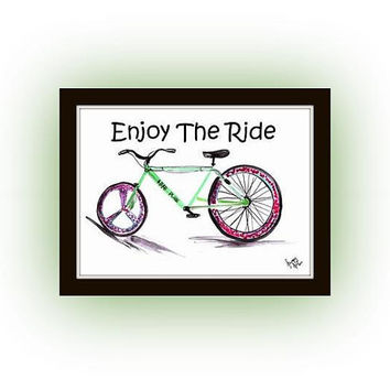 Enjoy the ride, bicycle Inspirational Quotes, Printable Wall Art, watercolor painting, Picture print, men room poster decal, travel bohemian