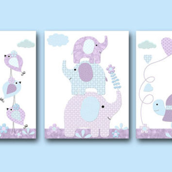 Blue Purple Canvas Nursery Print Elephant Decor Giraffe Wall Art Baby Girl Wall Decor Baby Girl Wall Art Nursery Wall Decor set of 3