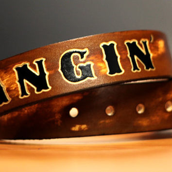 Custom Brown Leather Name Belt, Personalized With Anything / Personalized / Custom Leather Belt / Custom Fathers Day Gift