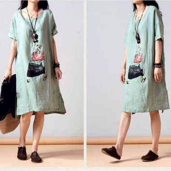 DCCKIX3 Summer Plus Size Short Sleeve Cotton Linen Print Dress One Piece Dress [4919720708]