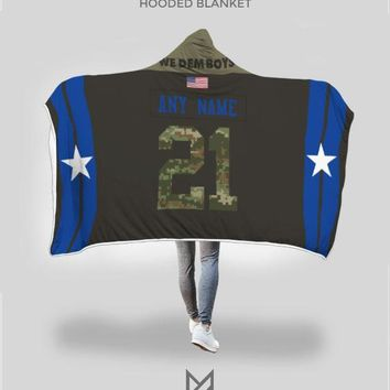 """Dallas Cowboys """"Salute to Service"""" Hooded Blanket - Personalized Any Name & Any Number"""
