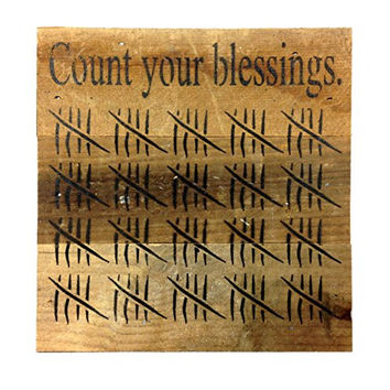 Count Your Blessings with Tick Marks - Reclaimed Wood Art Sign - 6-in x 6-in
