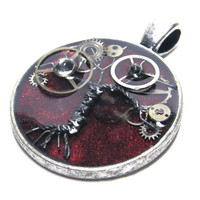Firey Warmth Antique Silver Steampunk Tree of Life Resin Pendant