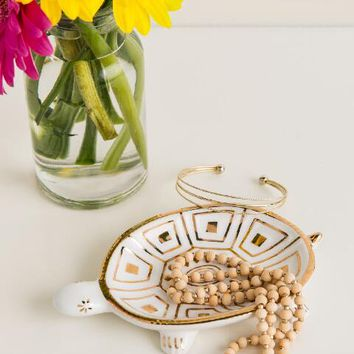 White and gold turtle trinket dish