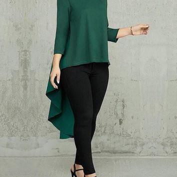 New Green Pleated High-Low Round Neck Long Sleeve Swallowtail Formal Elegant Blouse