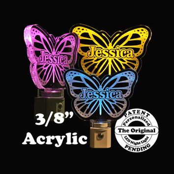 LED Butterfly Night Light, Personalized With Name