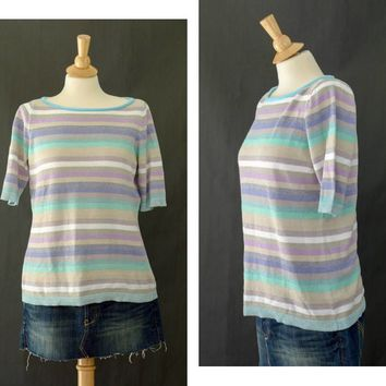 90s Pastel Rainbow Striped Shirt,  Glitter Short Sleeved Shirt, 90s Liz Claiborne, Pull Over Pastel Goth Shirt , Size Medium, Boat Neck
