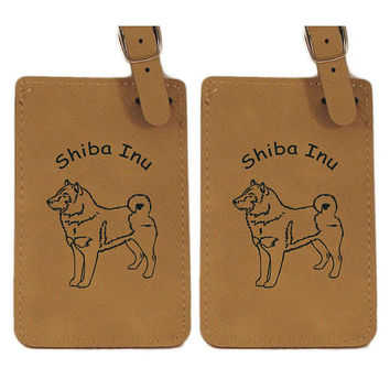 Shiba Inu Standing Luggage Tag 2 Pack L3953