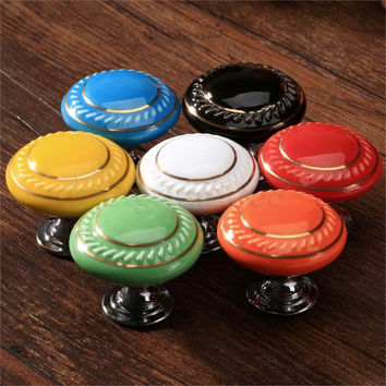Colorful Round Ceramic Cabinet/Door/Knob Drawer