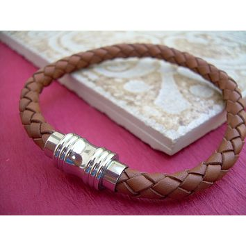 Men's Thick Braided Saddle  Brown Leather Bracelet with Stainless Steel Magnetic Clasp
