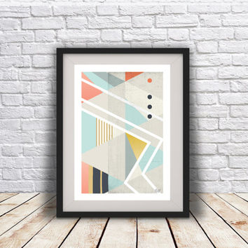INSTANT DOWNLOAD. Abstract art Triangles Geometric art Retro poster Minimal Modern Scandinavian Nordic Style Abstract Digital poster print
