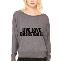 Live Love Basketball WOMEN'S FLOWY LONG SLEEVE OFF SHOULDER TEE