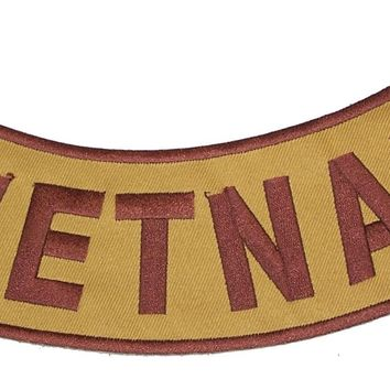 VIETNAM Brown on Gold with Boarder Bottom Rocker Iron on Patch for Biker Vest and Jacket