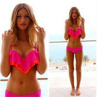 2016 New sexy blue hot Scrunch Push Up Bikinis Set WOMEN'S Swimsuit 3D Swimwear Women Strappy Thong Bottom Strapless Bikin