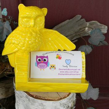 Owl business card holder office desk decor ceramic glazed- Vintage Design Bright Fruit Yellow